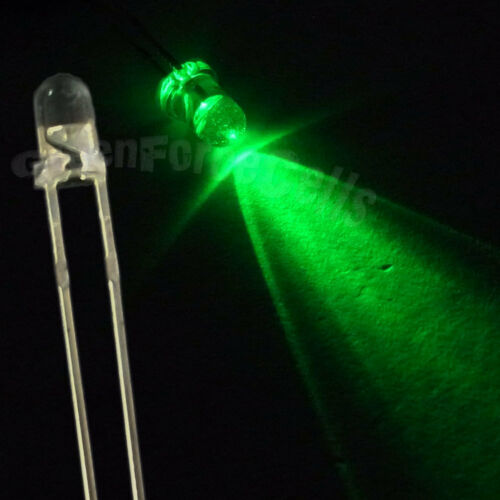 50 3mm 2 Pin Round Emerald Green LED Light Bright Emitting Diode Lamp 12000 mcd