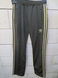 Adidas para Girl 34 mujer Retro Vintage Trefoil Trousers Khaki Gold Pant Sport 6S60Yrq