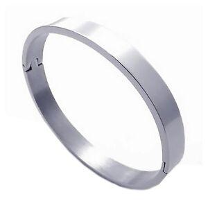 Schmuck-Herren-Damen-Armband-Edelstahl-Armreif-Silber-Z7F9