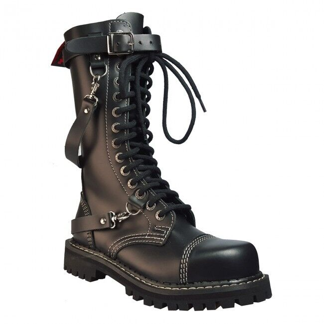 Angry Itch 14-Loch 3-Straps Gothic Army Ranger Lederstiefel-Metal-Biker-Boots