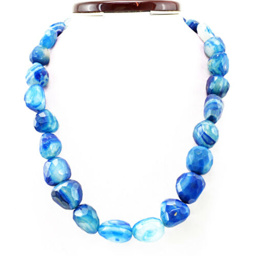 Untreated 1059.50 Cts Natural Single Strand Blue Onyx Faceted Beads Necklace