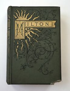 1888-POETICAL-WORKS-of-John-Milton-Poems-Antique-Hardcover-Book