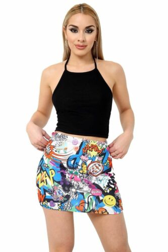 Impreso para Mujer Damas Elastizadas Elástico Jersey Bodycon Corto Mini Falda 8-22