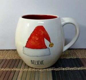 Rae-Dunn-034-BELIEVE-034-Mug-with-Santa-Hat-amp-Red-Interior-Large-Letters-New