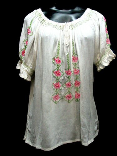 XL Ren-Faire Camisole Peasant Blouse White all rayon with embroidery SIze S