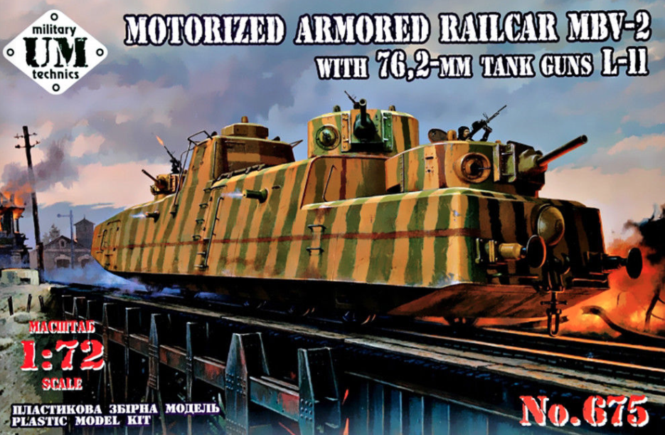 Um-mt 1/72 mbv-2 motorizzato CORRAZZATA vagone ferroviario con 76,2mm