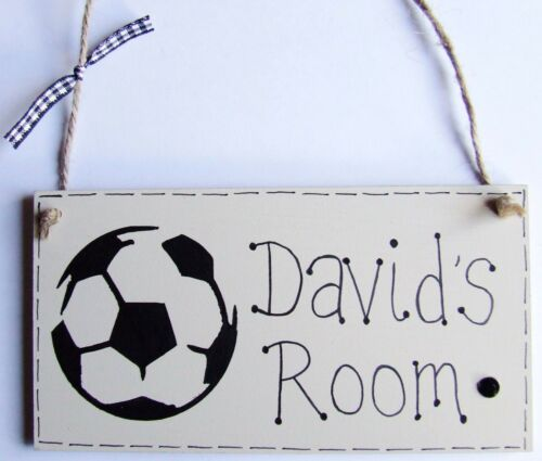 PERSONALISED PLAQUE SIGN HANDMADE FOOTBALL BOYS GIRL BABY NAME BEDROOM DOOR GIFT