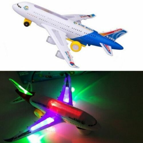 US Bump/&Go Aeroplane Flashing Led Light Music Toy Airbus Plane Kid Toys Hotsales