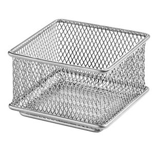 Details About Silver Mesh Drawer Organizer Bin Office Desktop Basket 3x3 1612