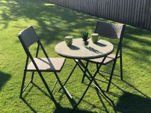 Finto vimini bistrot caff set tavolo pieghevole sedie mobili da giardino ebay - Ebay mobili da giardino ...
