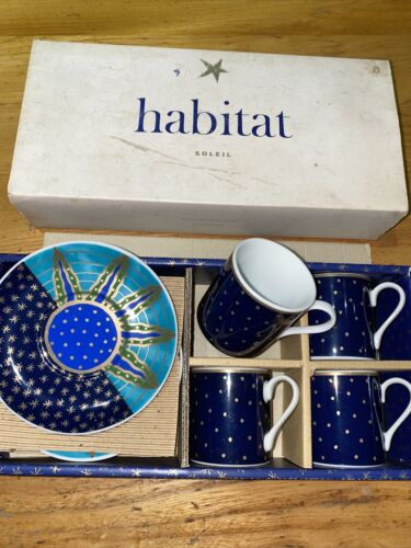 Vintage Habitat Espresso Coffee Set 4 X cups /& Saucers Soleil Conran
