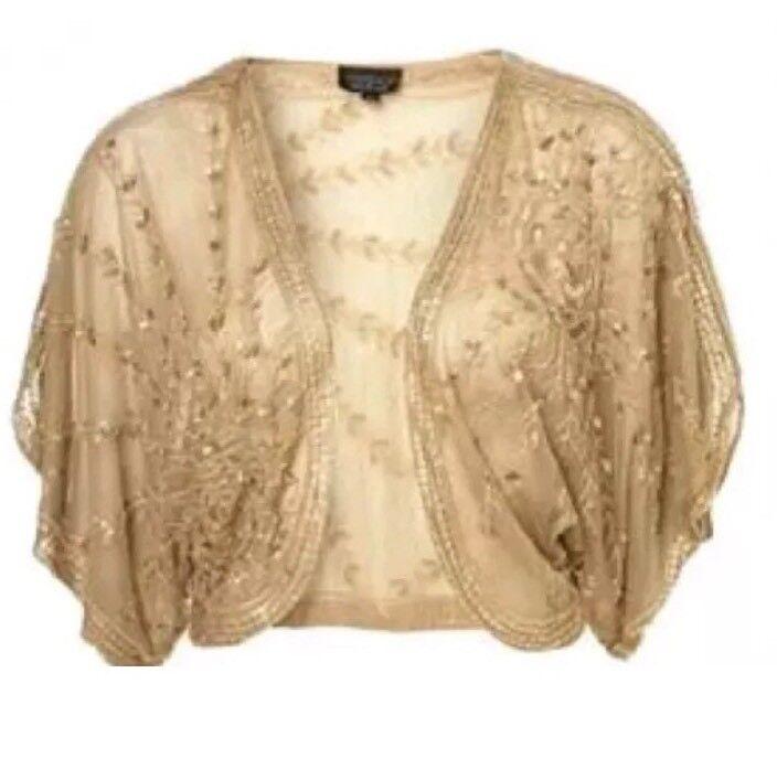 Topshop Antique Gold Sequin Bead 20s Flapper Vtg Cape Kimono Dress Jacket 10 S