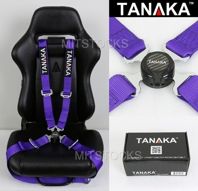TANAKA UNIVERSAL PURPLE 4 POINT CAMLOCK QUICK RELEASE RACING SEAT BELT HARNESS