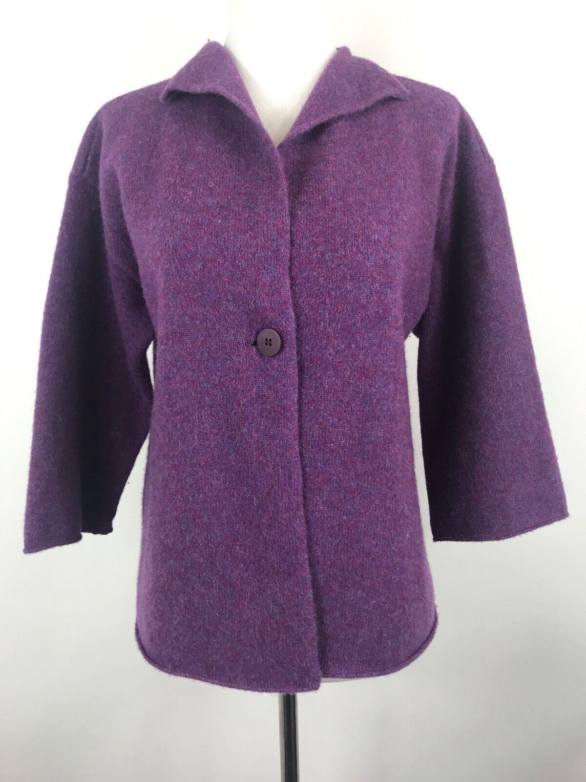 Eileen Fisher Petite Small Italian Yarn Single Button Purple Cardigan PS