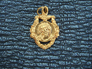 Catholic-Medal-ECCE-HOMO-Sorrowful-Jesus-ornate-Gold-finish-23mm-from-Italy