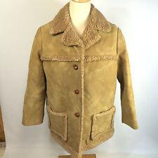 Vintage 70s Womens Sherpa Western Polyester Lumberjack Winter Coat Jacket 22 USA