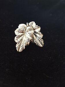 Estate Vintage Rare DANECRAFT Sterling Silver Leaf Screw Back Earrings