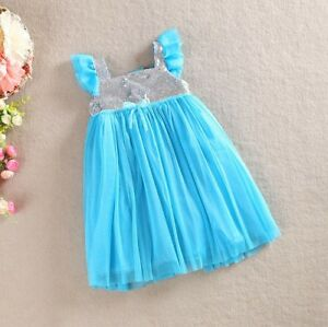 Girl Frozen Dress Costume Disney Princess Queen Elsa Party Birthday size 2-7 Yrs