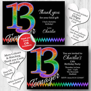 Image Is Loading 10 Personalised 13th Birthday Party Teenager Invitations Invites