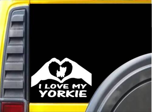 Yorkie Hands Heart Sticker k073 8 inch yorkshire terrier decal