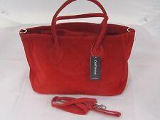 Red Suede Leather Shoulder Bag, Hand Bag.