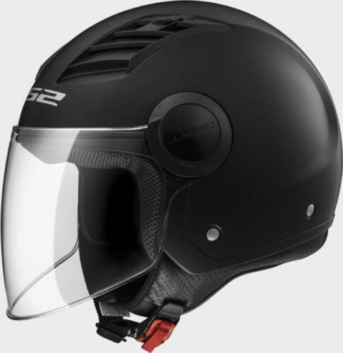 CASCO JET LS2 OF562 AIRFLOW SOLID NERO OPACO INTERNO REMOVIBILE PRESE D/'ARIA