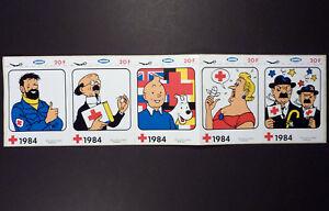 Tintin Série 5 autocollants Sabena 1984 Studio Hergé Publiart TBE