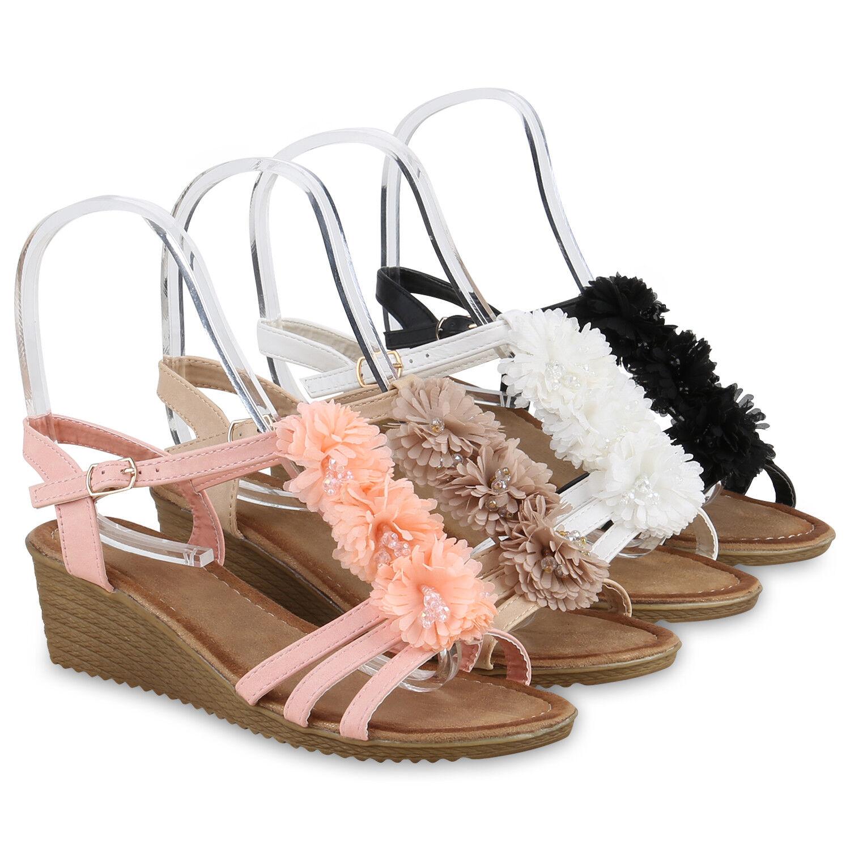 Damen Sandaletten Keilabsatz Keilsandalette<wbr/>n Blumen Wedges 815505 Schuhe