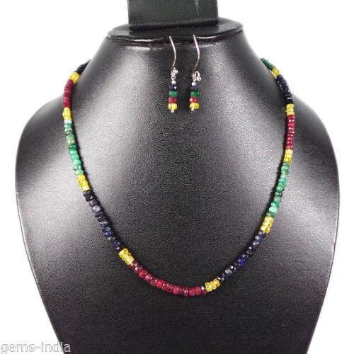 Multi Pierre Émeraude Naturel Rubis Saphir Collier Magnifique Arc-En-Ciel Perles