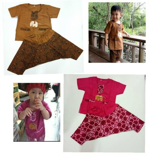 100/% Cotton Thai Clothes Kids Boys Girls  Casual T-Shirt /&Shorts Outfit Set