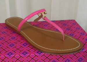 2d678356db805a NIB TORY BURCH T Logo Patent Leather Flat Thong Sandal Size 10 Bloom ...