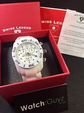 SWISS LEGEND White Ceramic Commander Mens Diamond Chronograph Watch NEW! (10127)