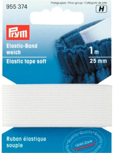 € 2,80//M Prym Elastic Waistband Soft 25mm//1m White Rubber Band 955374