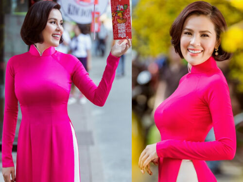 Vietnam Ao Dai Sewing following your SIZE White Ao Dai Vietnam customized Pink