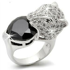 Panther Head Micro Pave Set Black Heart Cz Cubic Zirconia Cocktail Ring Size 6