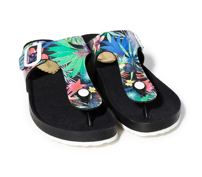 Último gran descuento DESIGUAL Shoes Libra Tropical Negro, Damen Flip Sandale Pantolette Zehentrenner