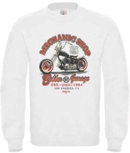 Chopper /& Old schoolmotiv Modello Mechanic Shop Felpa in bianco Biker-
