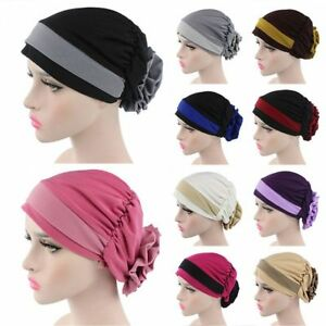 Women-039-s-Muslim-Stretch-Flower-Turban-Hat-Cancer-Chemo-Cap-Hair-Loss-Scarf-Beanie