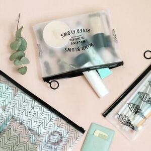 Black-Simple-Style-Pencil-Case-Translucent-Privacy-Protection-Makeup-Zipper-Bag
