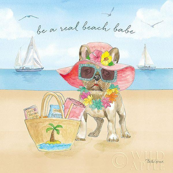 Beth Grove Summer Paws IV Keilrahmen-Bild Leinwand Hund Strand Spiel Fun Spass