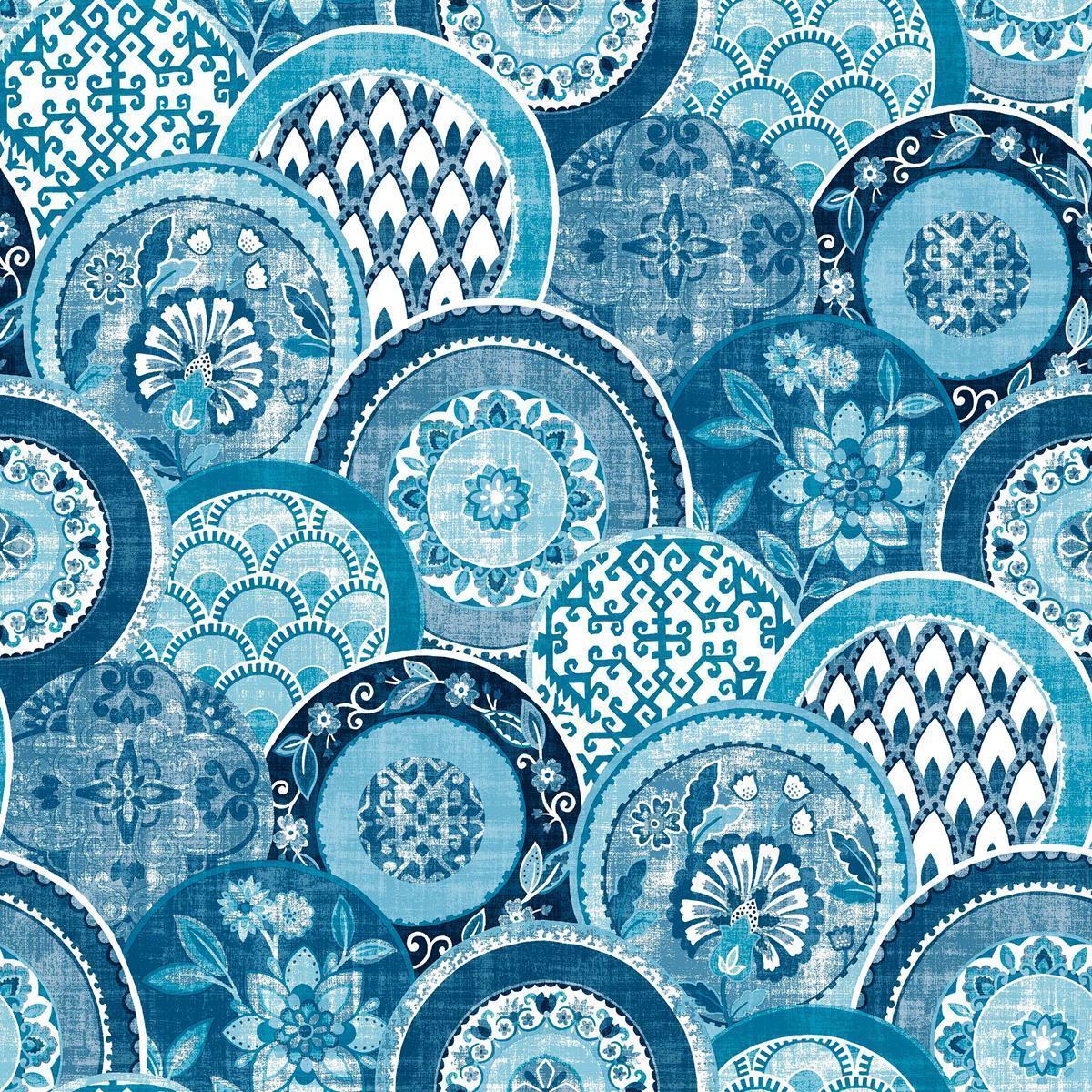 FD24148 - Solstice Old Plates bluee Fine Decor Wallpaper
