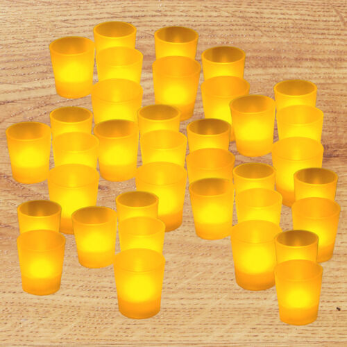 FREE SHIPPING 36x LED Votive Tea Light Wedding Party Flameless Candle Amber NEW