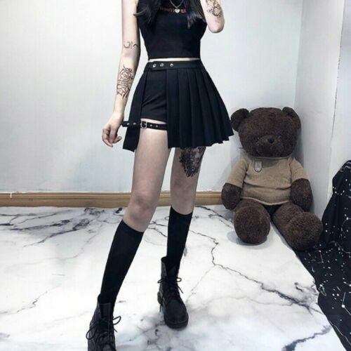 Punk Gothic Rock Damen Plissiert Kariert Mini Asymmetrisch Bandage Splice