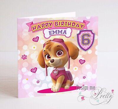 EXTRA LARGE PAW PATROL CHASE Birthday Card Child/'s Girls Boys 8x8 Inch 12345678
