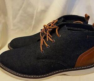 London-Fog-Men-039-s-Chukka-Boots-Belmont-Navy-Cognac-Size-9-5M