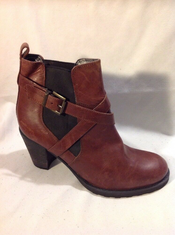 New Look Maroon Ankle Leather Boots Size 7