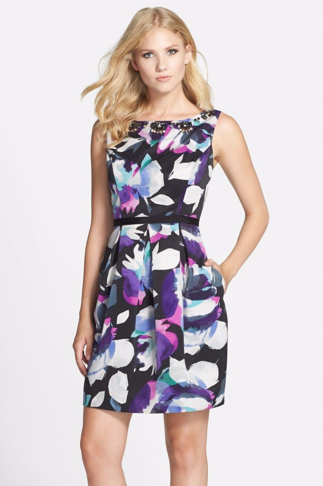 NWT  Eliza J Floral Faille Sheath Dress bluee Purple Floral 8 10 12 14 16 M L