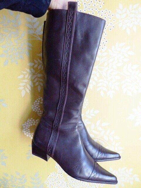 PACO HERRERO botas plates pointues tout cuir marrón T 37 37,5 parfait état