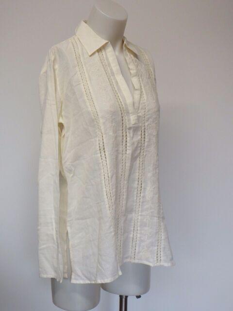 Women V neck Long Sleeve Blouse Off White Small Lucee & Ethel