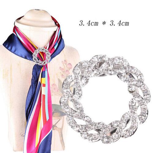 Women Scarf Buckle Ring Clip Holder Crystal Flower Silk Scarves Jewelry Br  xlOQ